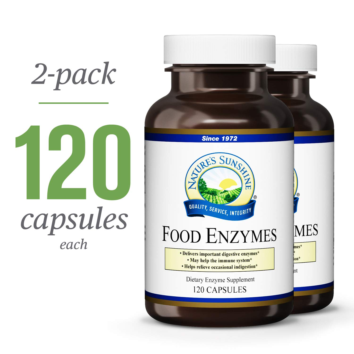 Nature's Sunshine Food Enzymes, 120 Capsules, 2 Pack | Digestive Enzymes with Betaine HCL Support The Digestive System and Provide Occasional Indigestion Relief
