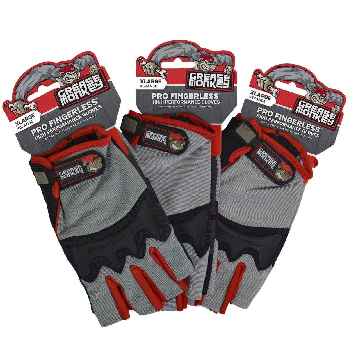Grease Monkey Pro Fingerless all purpose work gloves and workout gloves, 3 pack, X-Large.