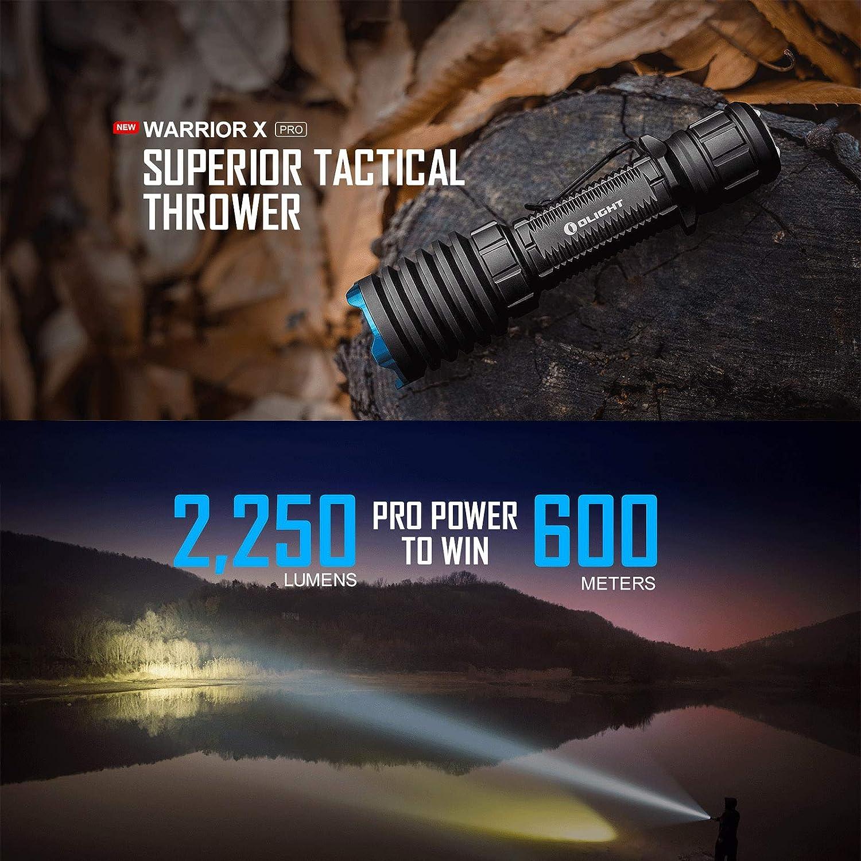 Custodia della Batteria Olight Warrior X Pro Torcia Tattica 2250 lumen // 600 metri LED Bianco Neutro Torcia a LED Potente Addebitabile per Ricerca e Salvataggio Caccia Militare con Batteria 21700