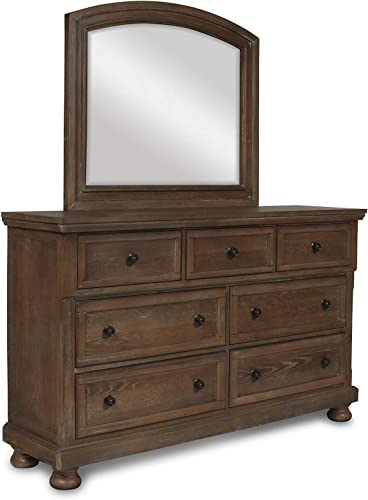 NCF Furniture Fortuna 8 Drawer Tall Boy Dresser Mirror in Weathered Rustic Brown
