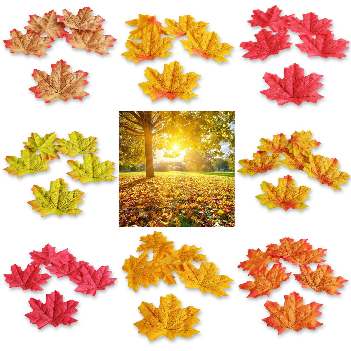 Topspeeder-400-Pieces-8-Colors-Artificial-Maple-Leaves-Assorted-Mixed-Fall-Colored-Maple-Leaves-for-Weddings-Autumn-Party-Events-and-House-Decorating-Thanksgiving-Christmas-Festival-Decorations