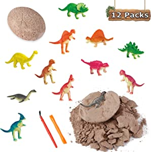 Dino Eggs Excavation Set of 12 Dinosaurs Fossil Dig Up Kit for Bday Party Favors Archaeology Science STEM Gift (Dinosaur Dig Kit)