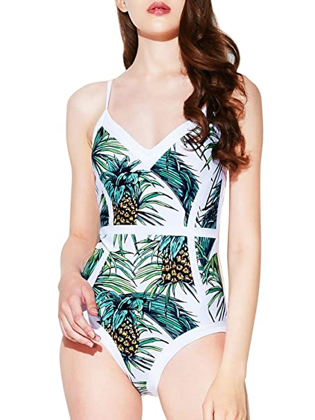 d9cc12a2640e6 Bikinx Women s Tropical Print One Piece Swimsuit High Cut Floral Bathing  Suits at Amazon Women s Clothing store