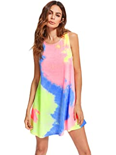 565779dd6 Romwe Women's Tie Dye Sleeveless Casual Loose T-Shirt Dress Swing Tunic Top