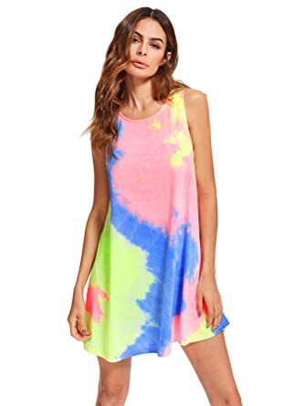 78c2ca7b5a3d Romwe Women s Tie Dye T-Shirt Sleeveless Casual Loose Swing Dress Tunic Top  Multicolor S