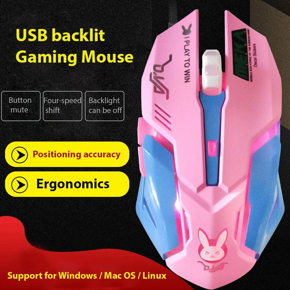 RONSHIN 1.5M Computer Accessories Mechanical Mouse Mute Sound DVA Game Wired Mouse Pink Mute Colorful Light