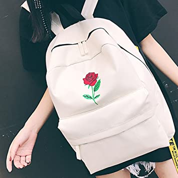 Amazon.com: Girls Embroidery Rose School Student Bag Travel Couple Canvas Backpack Bag Unisex Classic Resistant Fits Laptop Fashion Casual Daypack ...