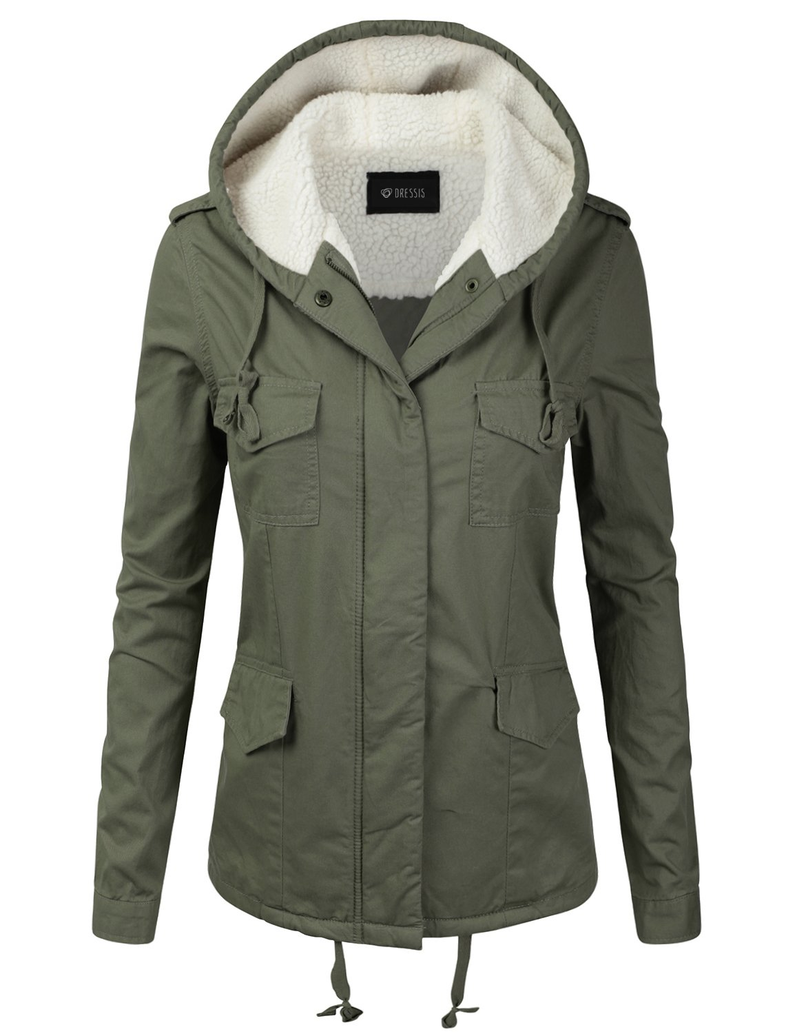 DRESSIS Women's Woven Fur-Lined Hooded Cotton Utility Jacket Parka OLIVE M