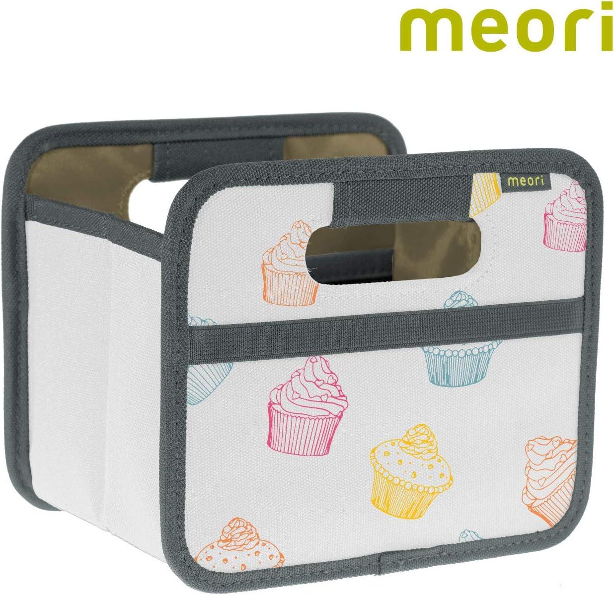 meori Faltbox Bunt/Cupcake 16,5x12,5x14cm abwischbar, Stabil, Polyester Schreibtisch Badezimmer Flur Staubox Stifte Accessoires Aufbewahren Foldable Mini Box 1 Pack Colorful, 1-Pack