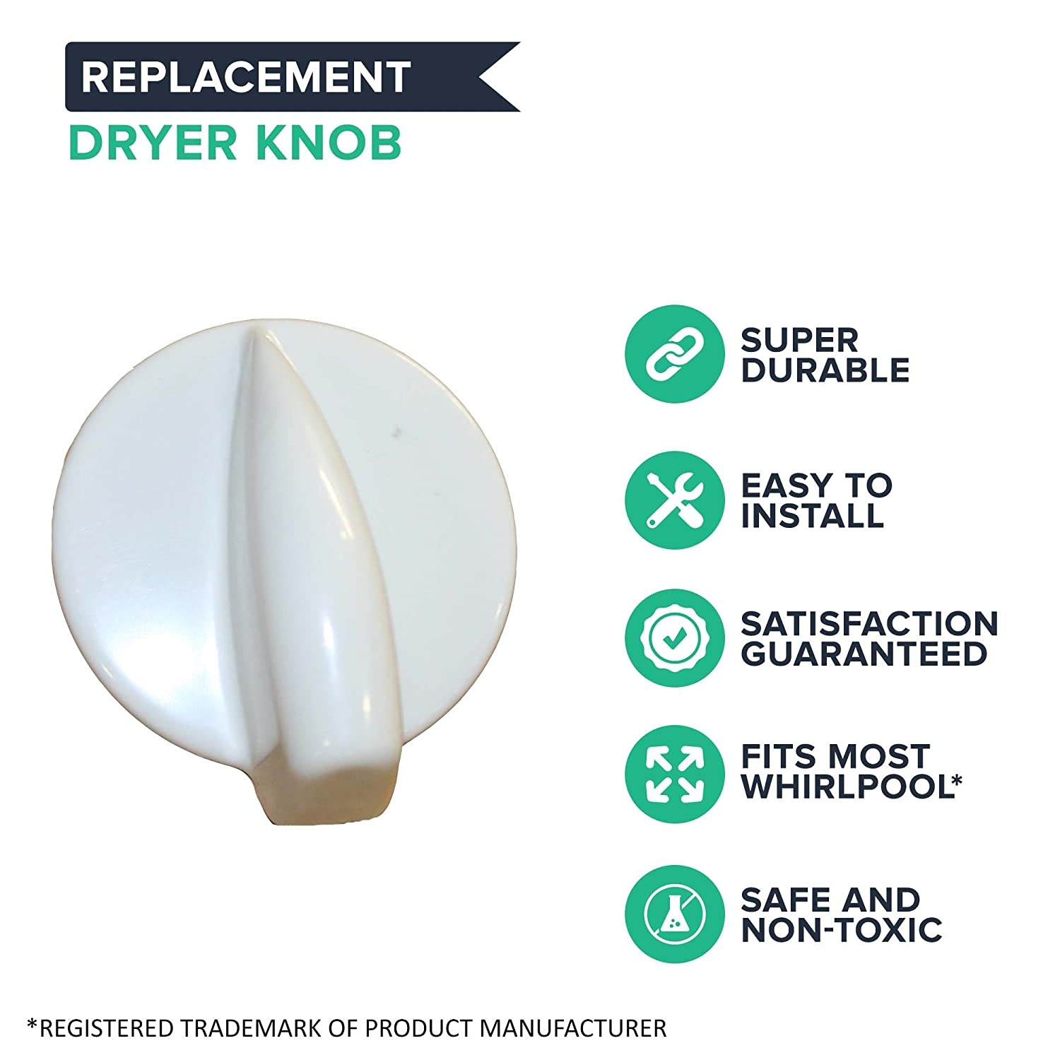 Compatible with Part 8181859 7MGHW9150PW0 7MGHW9400PW0 GHW9100LQ0 Think Crucial Replacement Dryer Knob Fits Whirlpool