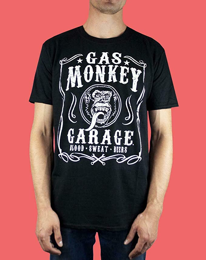 Negro Gas Monkey Garage Blood Sweat and Beers Hombres Camiseta