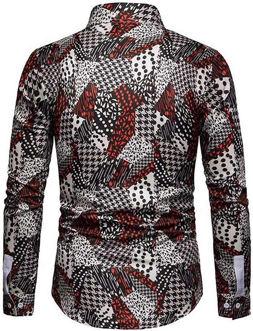 SHOWNO Mens Long Sleeve Casual Business Button Down Houndstooth Dress Work Shirt