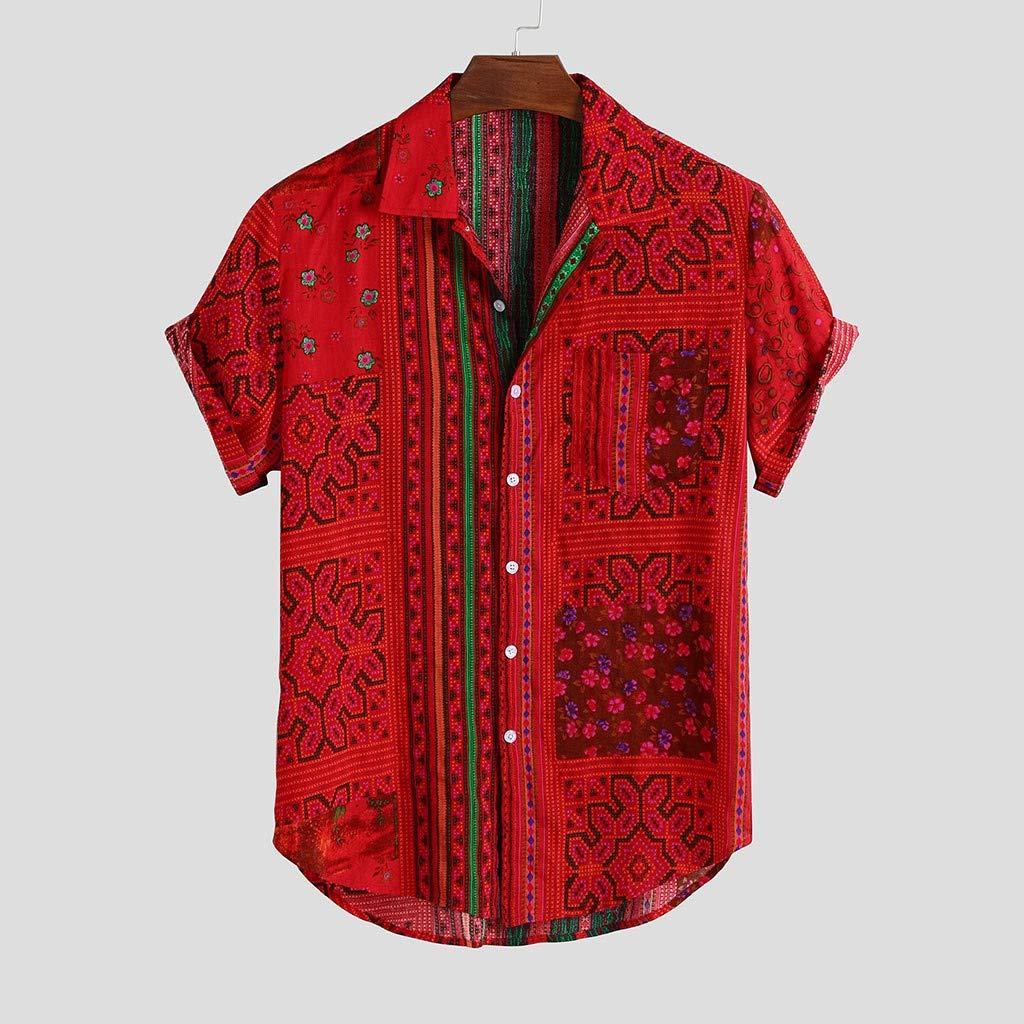 Fitfulvan Mens T-Shirt Vintage Ethnic Wind Short Sleeve Printed Lapel Turn Down Collar Loose Casual Shirts Tops