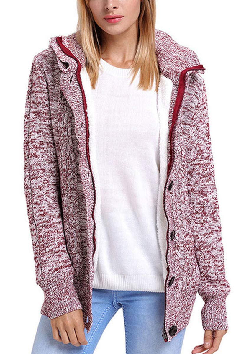 Les umes Womens Thermal Hooded Full Zip Up Zippered Fashion Knit Casual Scrub Coat Sweater Top Deep Red L