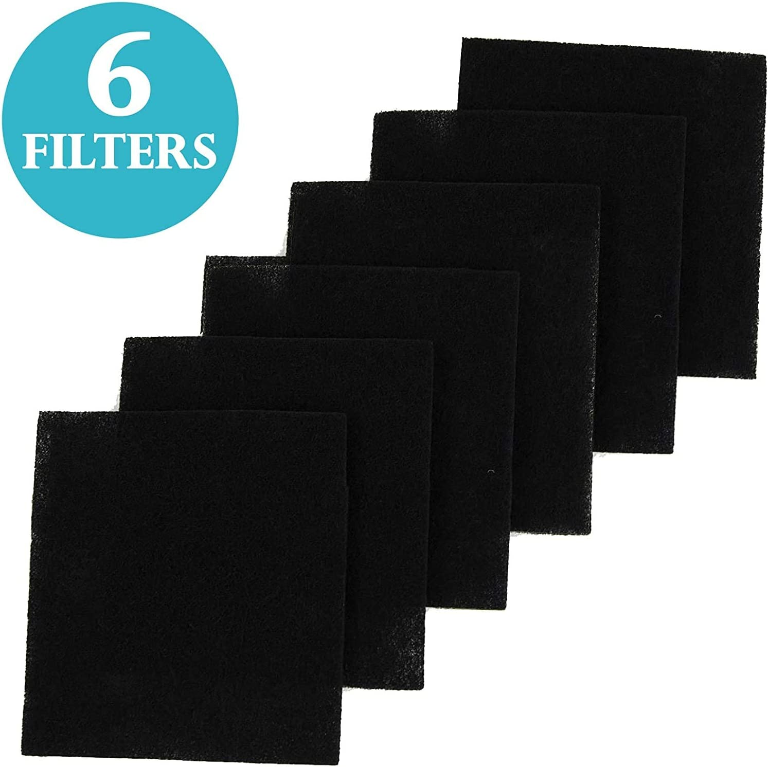 FRESH HEADQUARTERS Litter Box Filters for Hooded Cat Litter Box – Activated Charcoal Filters Eliminate up to 99% of Litter Box Odors – 6 Inch x 6.5 Inch Trimmable Pads (6 Pack)