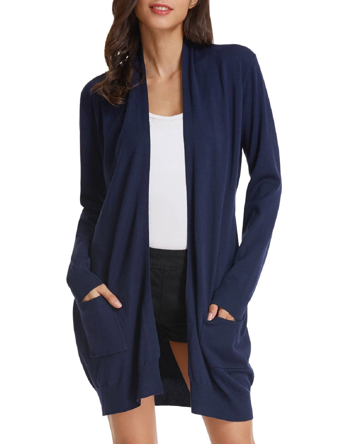 GRACE KARIN Women's Cozy Stretch Kimono Sweater Open Front with Pocket(M,Navy Blue)