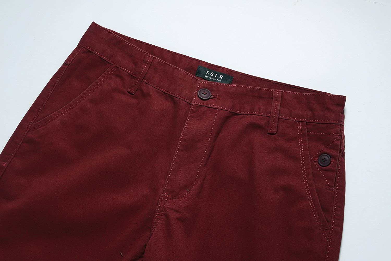 SSLR Mens Solid Modern Slim Fit Straight Leg Casual Pants