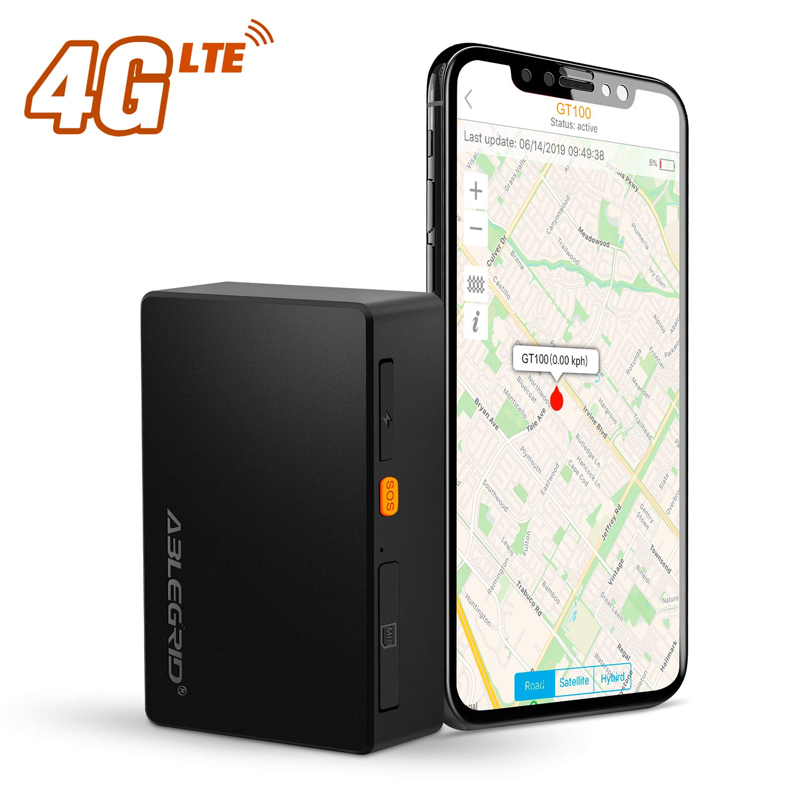 ABLEGRID 4G LTE GPS Tracker, GT100 Real-time GPS Tracking Device Portable for Vehicles and Persons Hidden Magnetic Mini GPS Locator Tracker for Cars - Free Global SIM Card by ABLEGRID