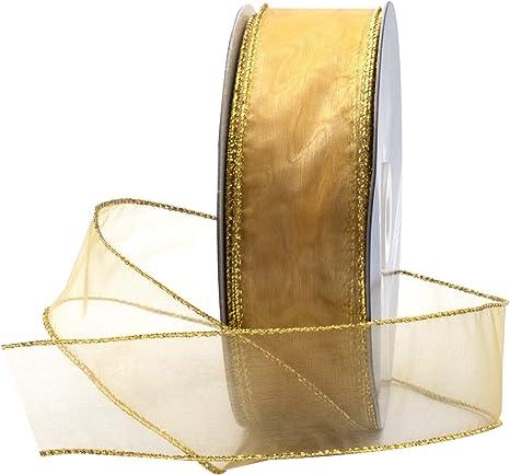 Antique Gold 1.5 inch Metallic Wired Eyelash Ribbon You Choose Yards