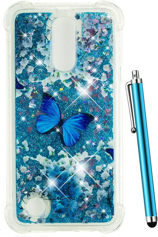 CAIYUNL for LG K20 V Case, LG K20 Plus Case Glitter, LG Harmony Case, LG Grace Case, LG LV5 Case Liquid Sparkle Bling Girls Women Men Clear TPU Protective Cute Cover for LG K10 2017 -Blue Butterfly