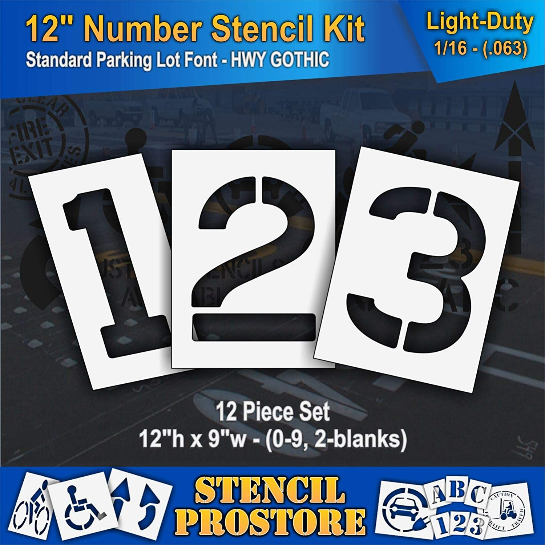12 inch Number KIT Stencil Set - 12 Piece - Pro-Grade Pavement Stencils - 12 x 9 x 1//8 128 mil