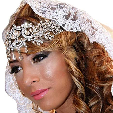 Bridal head piece Bridal Hair Accessories,Bohemian Hair Band Vintage Wedding Tiaras Chains hair chain, rhinestone hairpiece tiara