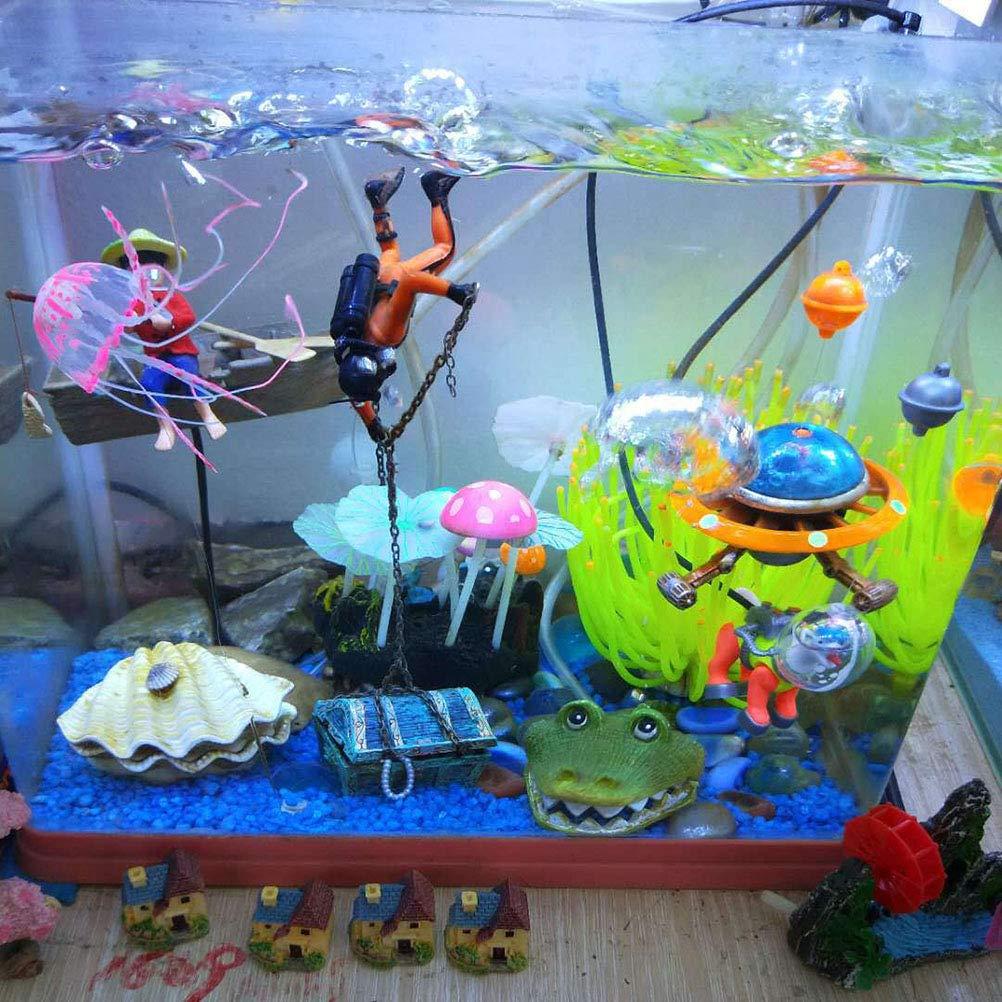 Toyvian Acuario Decoración Tesoro Hunter Diver Figura de acción Acuario Ornamento para pecera Paisaje decoración (Naranja): Amazon.es: Hogar