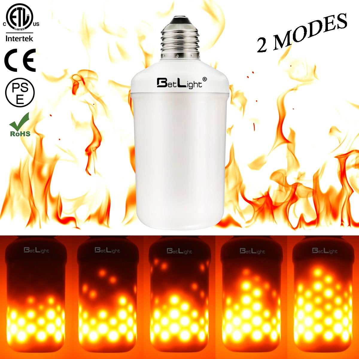 BT2W1M-6 BetLight Flame Bulb 2 Modes Flame Fire Down E26 Standard Base LED Flame Effect Light Bulbs,Fire Flickering Bulb for Valentines Day//Outdoor Garden//Hotel//Bars//Home Decoration