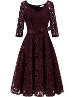 Dressystar Elegant V Neck Lace 3/4 Sleeve Bridesmaid Dresses Slim Waist Midi Dress
