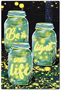 Agantree Art Fireflies Garden Yard Porch Metal Sign Outdoor Decorative Metal Plaque 12 x 8 Inch