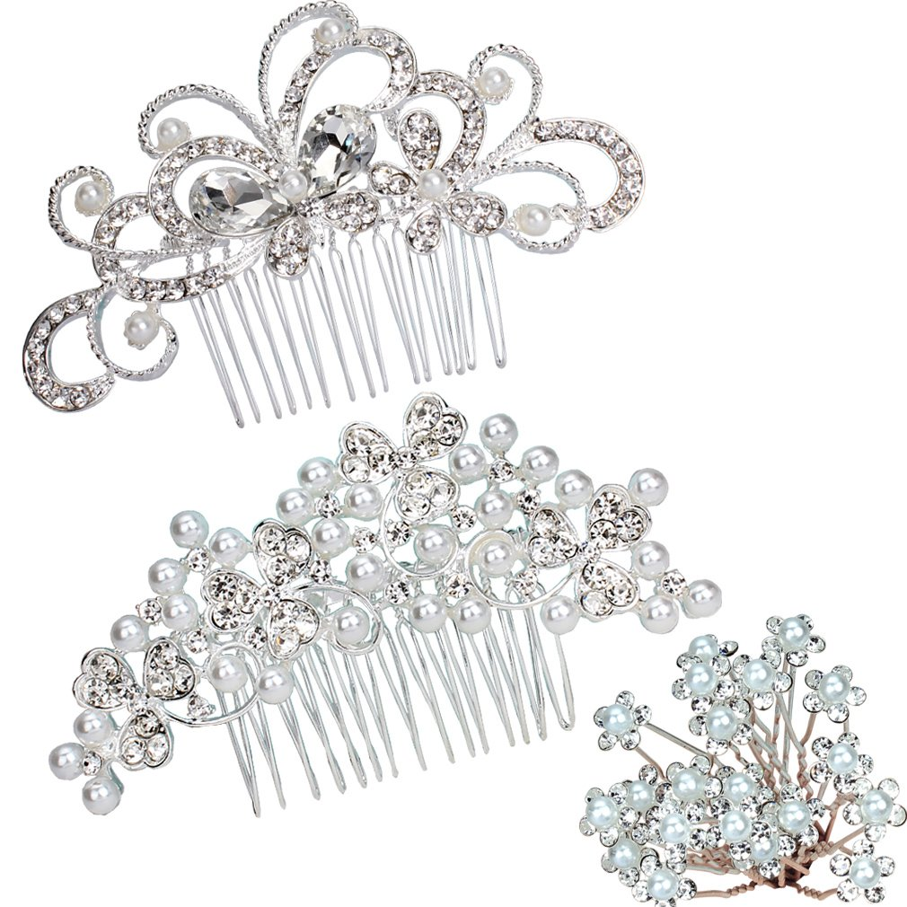 Supoo 2 Pack Hair Combs with 20 pieces Hair Pins Flower rhinestones Crystal Pearl Hair Combs Silver Bridal Wedding Hair Clip For women For girls