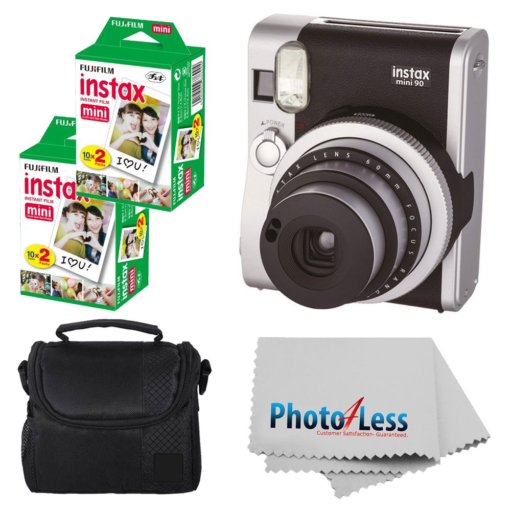 Fujifilm INSTAX Mini 90 Neo Classic Instant Camera (Black) With 2x Fujifilm Instax Mini 20 Pack Instant Film (40 Shots) + Compact Camera Case + Cleaning Cloth - International Version (No Warranty)