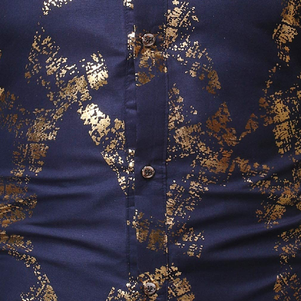 Tralounry Men Gilded Long Sleeve Casual Turn Down Collar Slim Fit Dress Shirt