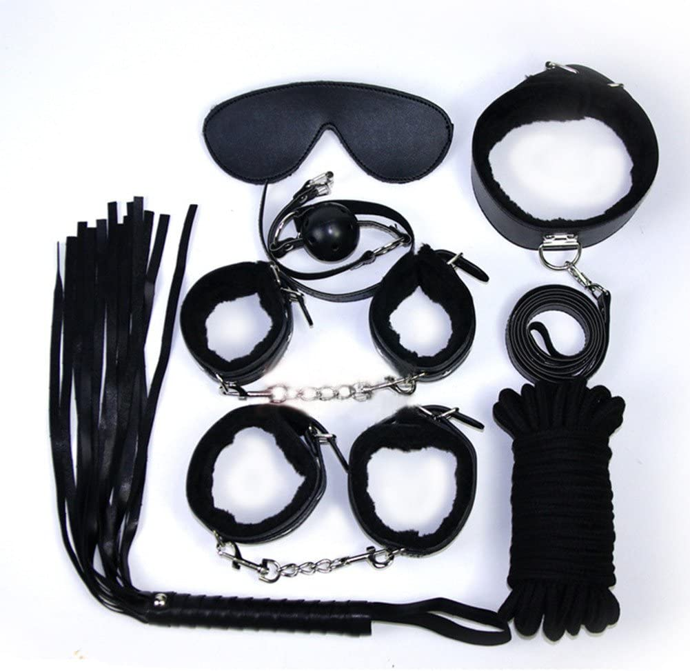 black 10pcs Fetish Couple Collection Bed Restraints Fetish Bondage Kit Love Cuff Bracelets Set