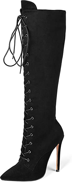 Eldof Women's Knee-High Boots Lace Up