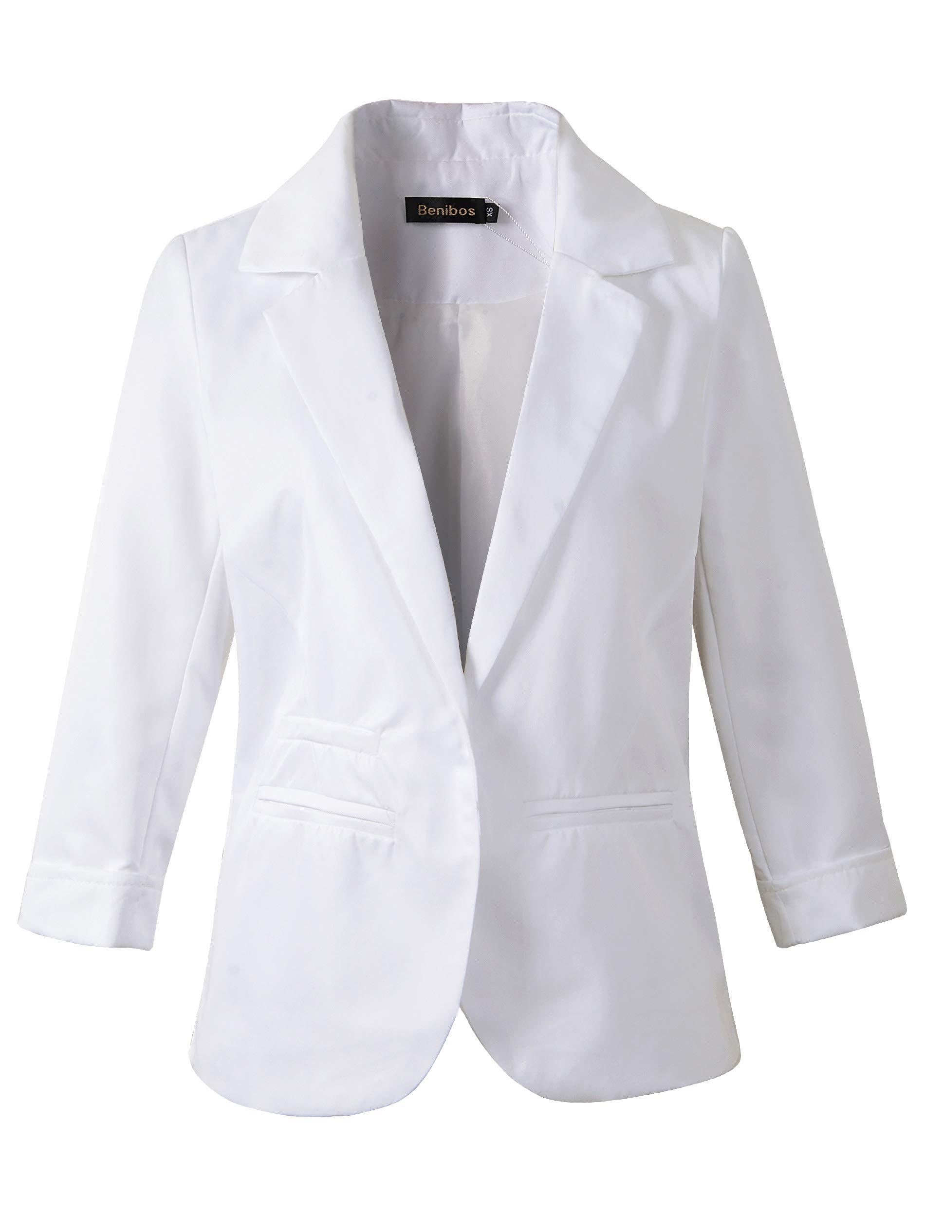 Women's Boyfriend Blazer Tailored Suit Coat Jacket (XL, 503White)