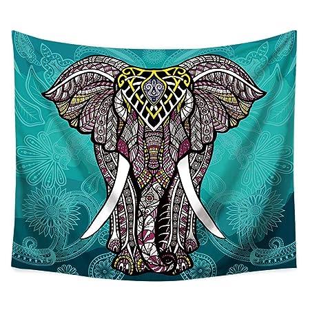 PYHQ Mandalas Elefante Tapices 100% Poliéster Colgando Mural Cobija Hippies bohemios Lámina cortina Mantel estera de yoga Tema tropical urbano verde ...