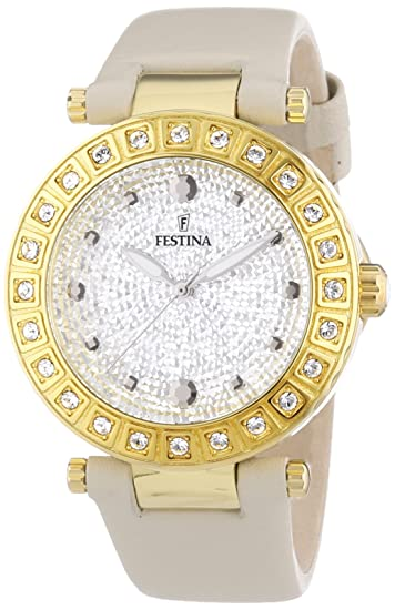 Festina F16646/3 - Reloj de Pulsera Mujer, Piel, Color Beige: Amazon.es: Relojes