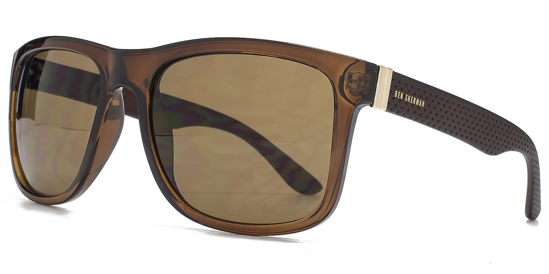 Ben Sherman Texturierte Tempel Kunststoff-Sonnenbrille im Crystal Brown BEN003 One Size Brown FHon0IWcZU