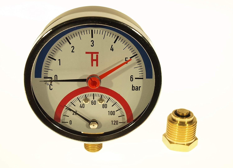 THERMIS Manom/ètre de temp/érature Thermomanom/ètre 0-4 bar 0-120/°C raccord de bas G1 2 3081