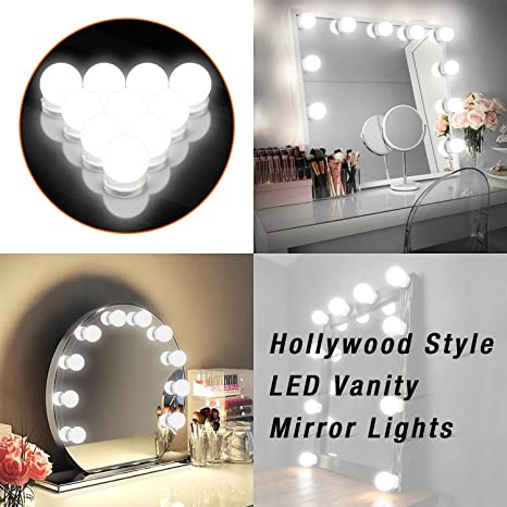 Makeup Mirror Lights Hollywood Style LED Vanity 10 Bulbs  Kit for Dressing Table