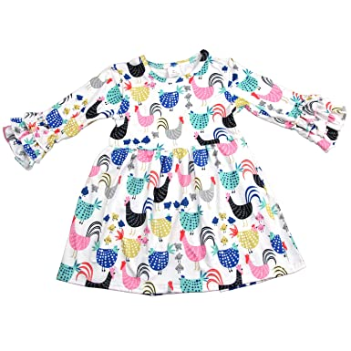 34fec8656 Amazon.com  Baby Girl Cartoon Chicken Long-Sleeves Ruffle Dress ...