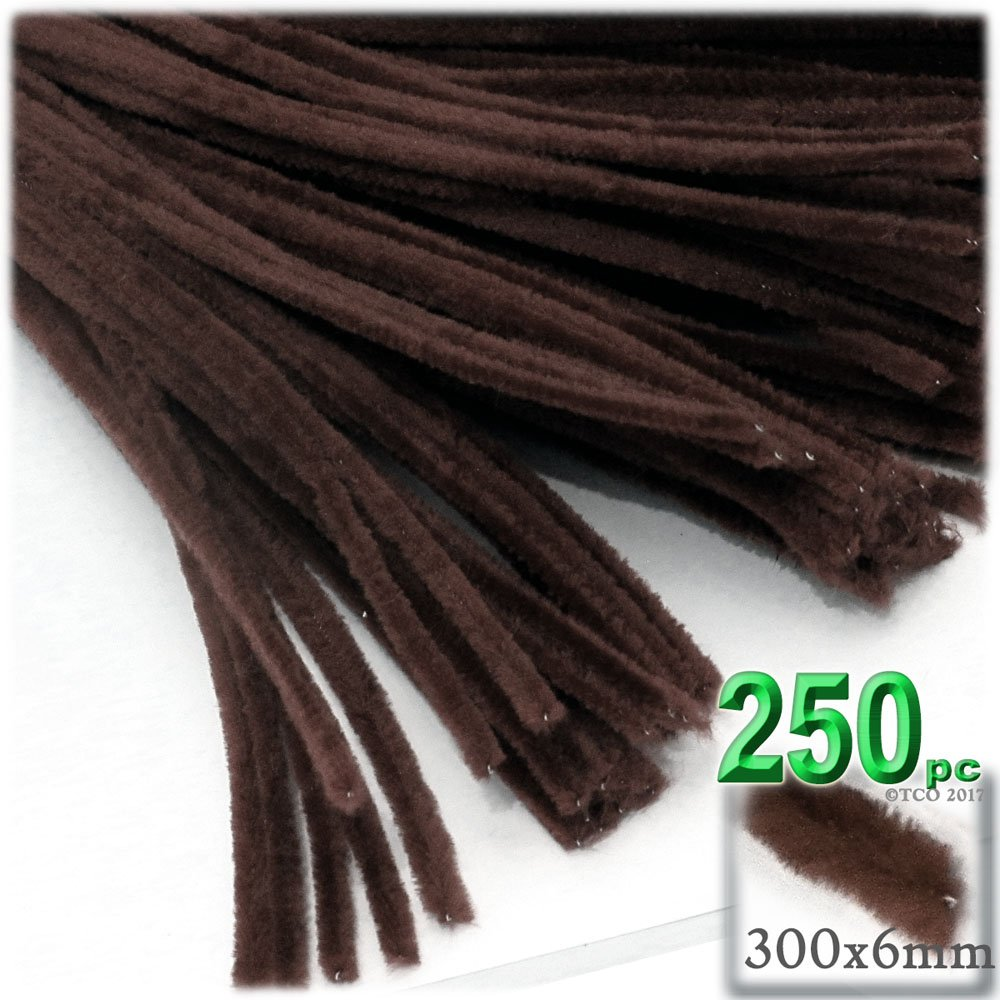The Crafts Outlet Chenille Stems, Pipe Cleaner, 12-inch (30-cm), 250-pc, Dark Brown
