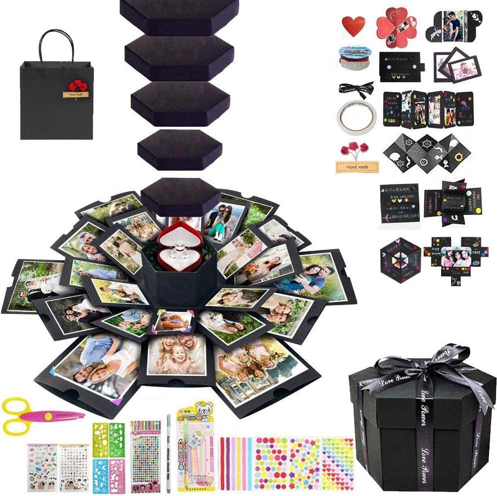 Caja de regalo explosión, Creative 6 Faces Hexagon DIY plegable hecha a mano, Love Memory Photo Album Scrapbooking sorpresa para cumpleaños, aniversario, boda, día San Valentín