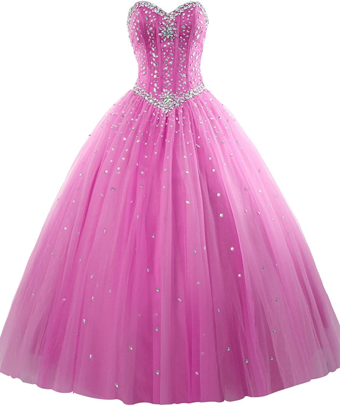 Womens Tulle Beaded Ball Gown Quinceanera Graduation Party Dresses Fuchsia US4