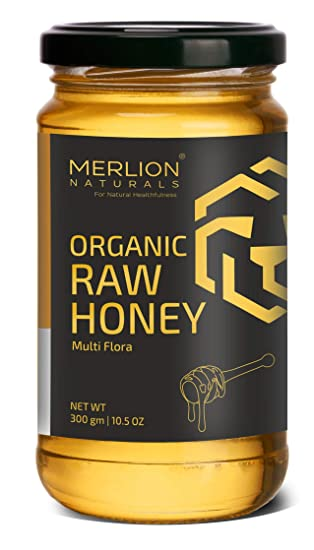 Merlion Naturals Organic Raw Honey, Wild Forest/ Multiflora Honey,  300 g