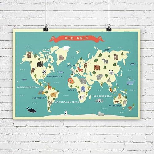 Weltkarte, Kinderzimmer Bild, Karte, Poster, Tiere, Bild ...