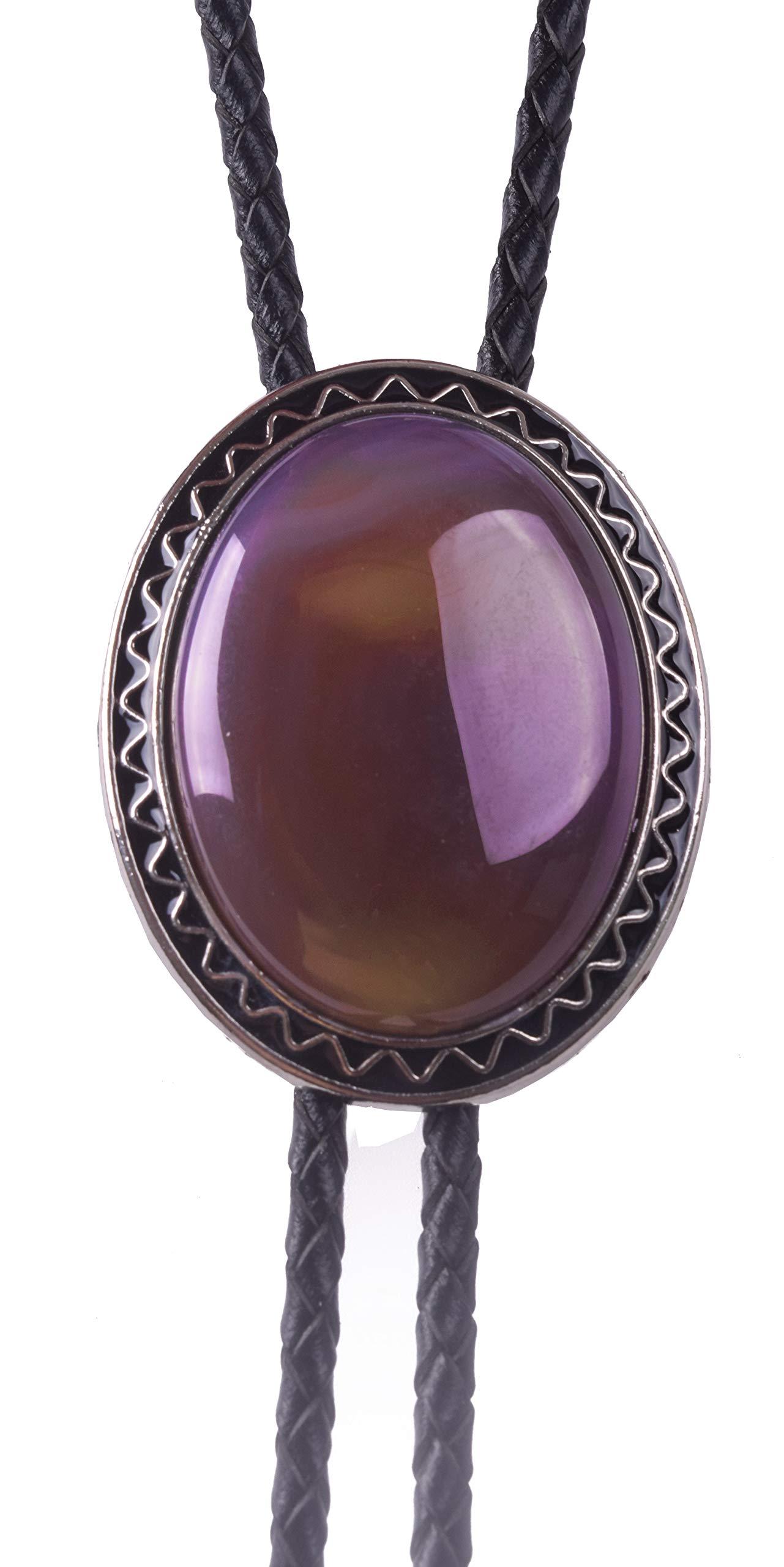 Yuanmo Bolo Tie Natural Purple Agate Stone Style Genuine Cowhide Rope
