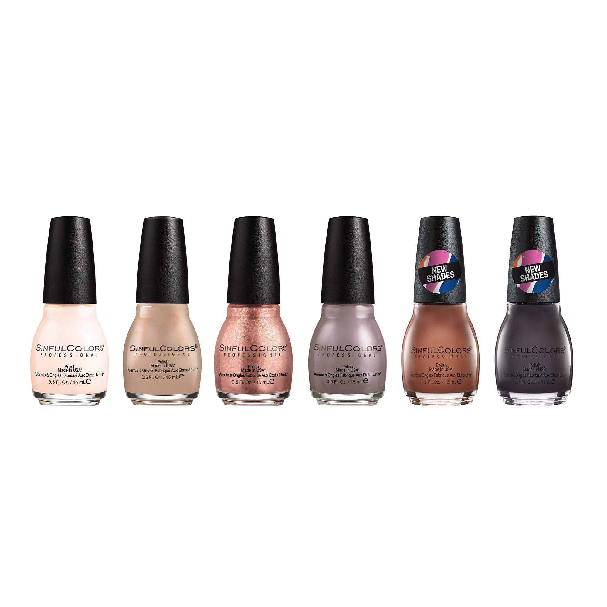 SinfulColors Nude Nail Polish Collection, 6 Count (Easy Going, Coco Bae, Hush Money, Hot Toffee, Taupe is Dope, Street Legal) by SinfulColors