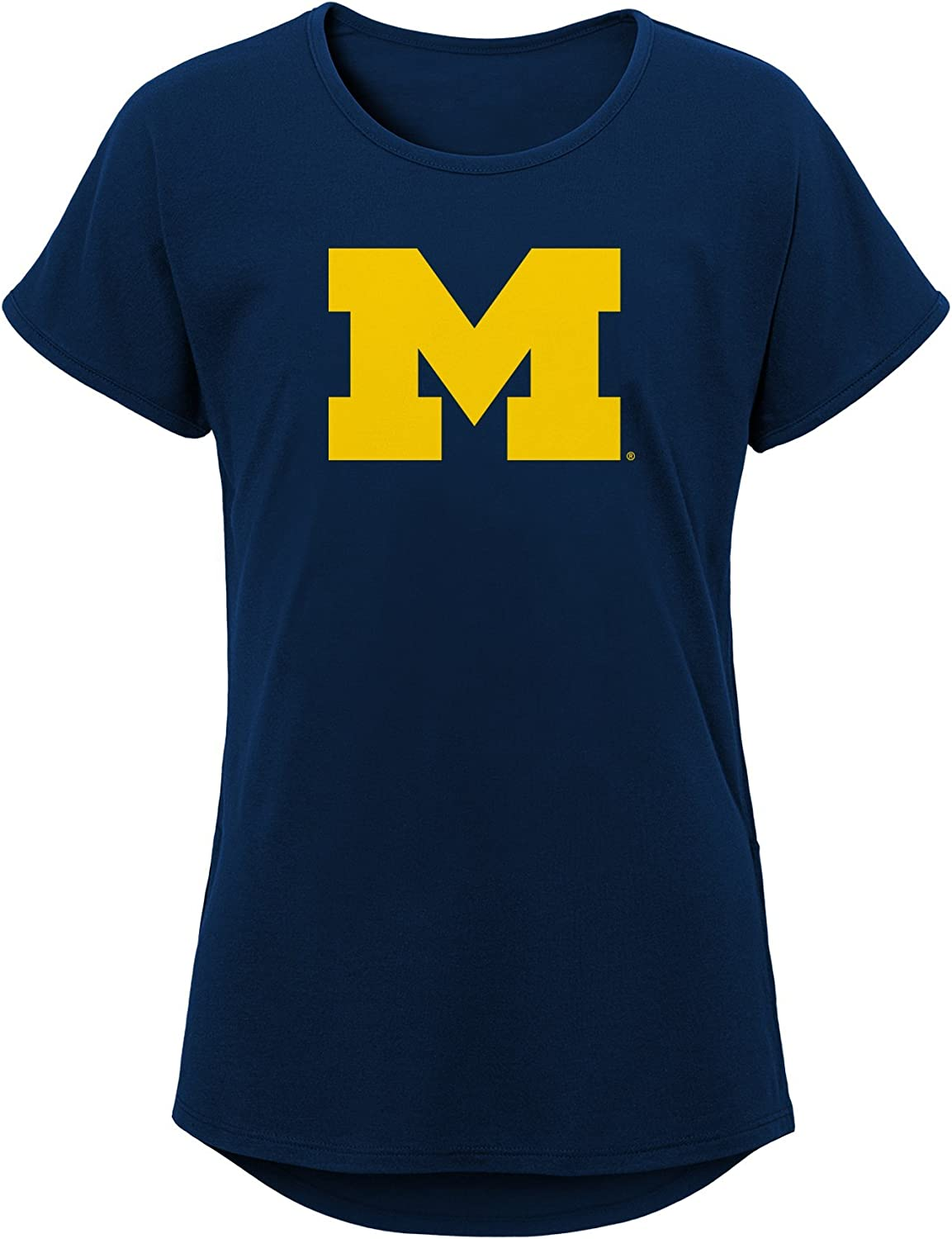 Youth Medium Team color NCAA Michigan Wolverines Girls Outerstuff Primary Logo Dolman Tee 10-12